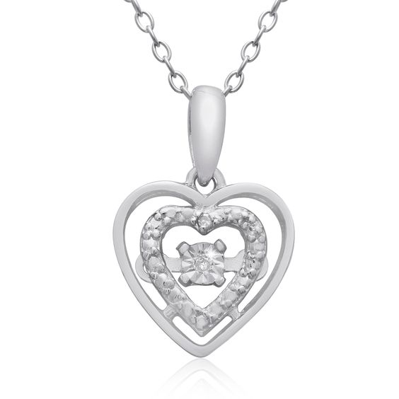 Shimmering Stars Collection Diamond Halo Heart Neck In Sterling Silver, 18 Inches, Floating Diam