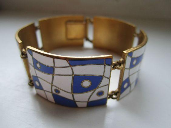 Alt groß Armband Email Emaille Stegemaille 50er/60er Jahre stylish sehr schön!