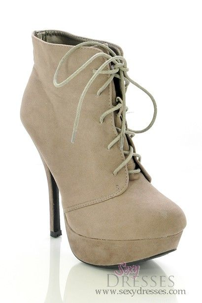 Taupe Faux Suede 'Marysia' Lace-Up High Heel Platform Booties