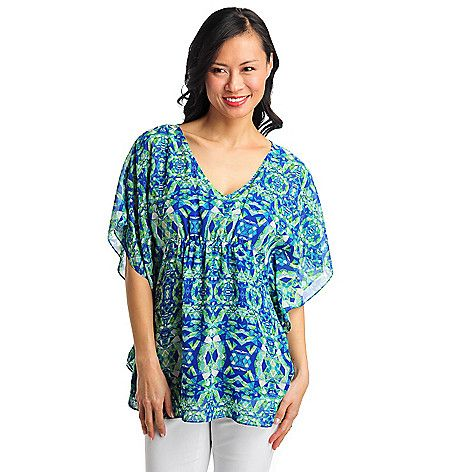 711-986 - aDRESSing WOMAN Yoryu Cinched Waist Poncho Blouse w/ Knit Layer Cami:
