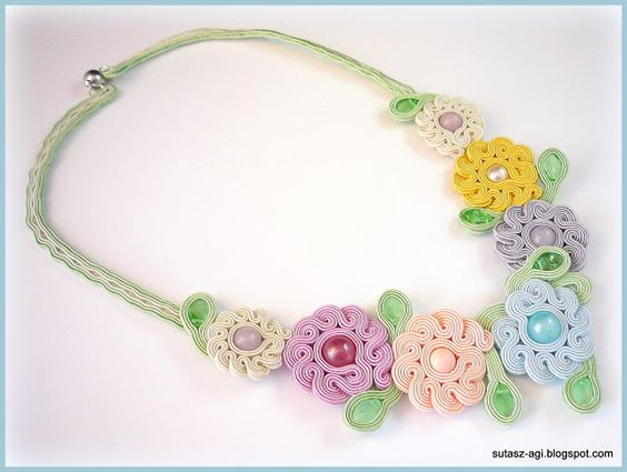 Pastel flowers soutache necklace: