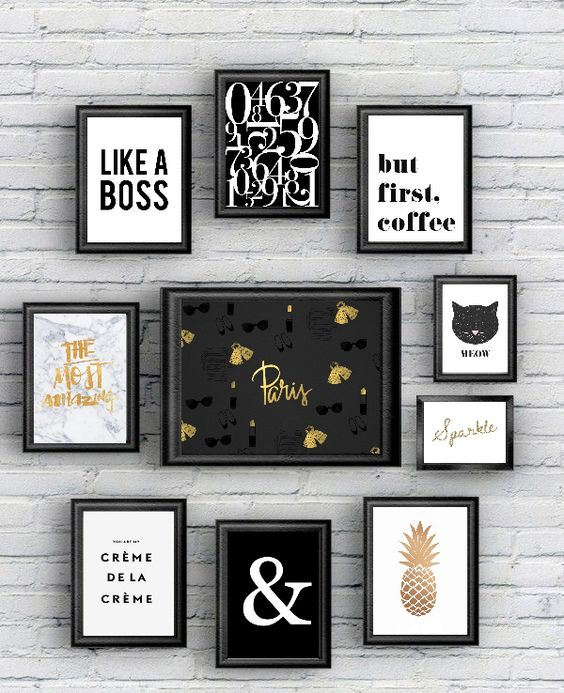 Free printable 10 posters black and gold!
