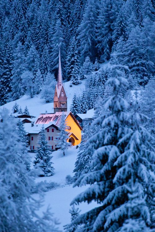 beautiful church in the snow