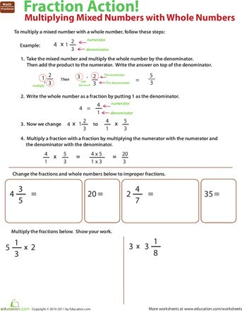 math worksheet : multiply mixed numbers with whole numbers : Subtracting Fractions From Whole Numbers Worksheet