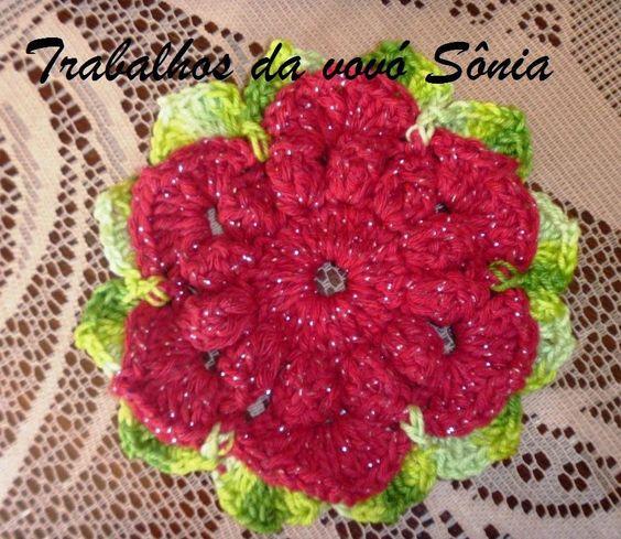 Trabalhos da vovó Sônia: Flor Gisele vermelho brilho - crochê
