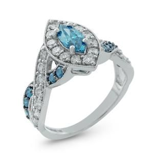 White Gold Diamond Engagement Ring with Treated Blue Marquise Center 96692AD2.  Call Martin Jewelry at Westroads Mall in Omaha, NE. for more details.  402-397-3771.