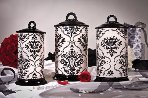 Damasks canister sets and canisters on pinterest for Drake designs kitchen