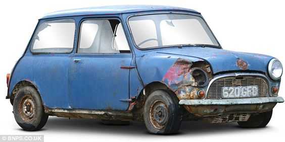This knackered car, which has spent the last 40 years rusting away in a barn, is a 1959 Morris Mini Minor Saloon - the 15th oldest-surviving Mini in the world