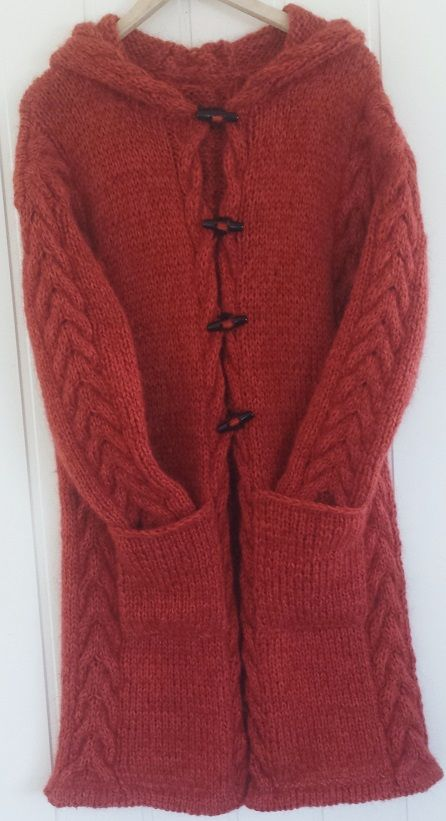 Pattern in Norwegian. Hand knitted jacket with hood, cable knit. Design Annel...
