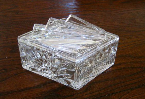 ART DECO Glass   Lidded Trinket Dish  Cut by YuleMoonTreasures