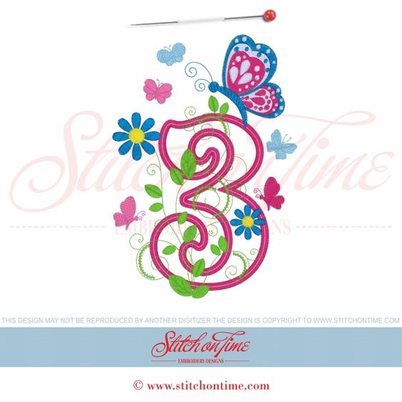 3 Birthday Garden : Made To Order With Number Applique 5x7