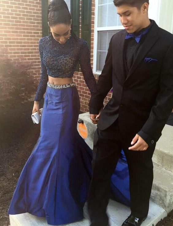 two-pieces prom dresses 2016, mermaid long prom dresses, long sleeves prom dresses by Simple-Dress