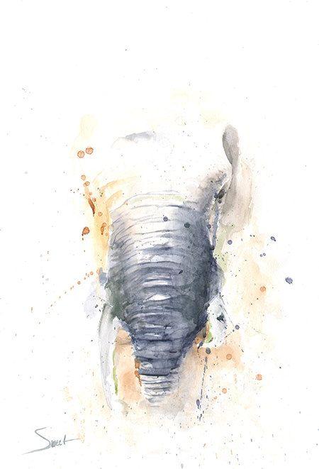 Elefant Aquarell - abstrakte Gemälde Elefant, Elefant-Liebhaber, Elefant…