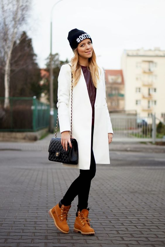 JEMERCED by Jessy Mercedes: WHITE COAT & TIMBERLANDS