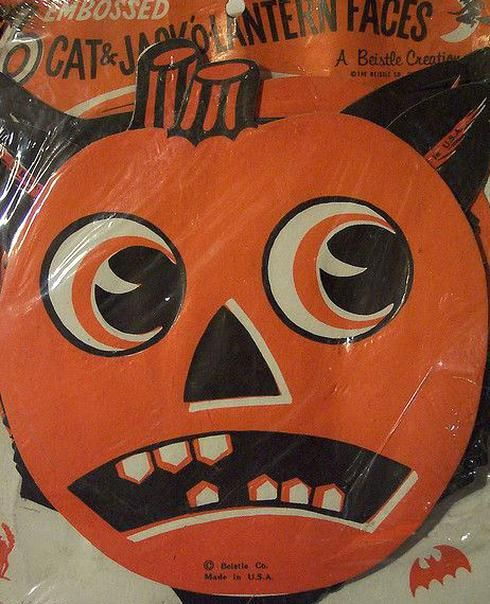 Halloween 2020 Jack O Lantern Head Vintage Halloween Cat and Jack O Lantern Head Diecuts in 2020