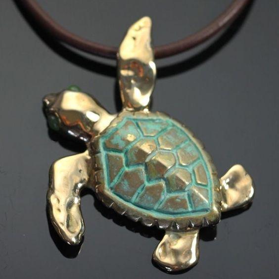 Loggerhead Sea Turtle Bronze Large Necklace | Anisa Stewart Jewelry