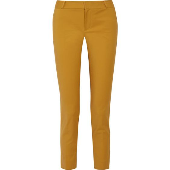 Raoul - Cotton-blend Skinny Pants (155 CAD) ❤ liked on Polyvore featuring pants, mustard, mustard pants, cotton blend pants, raoul, brown pants and brown trousers
