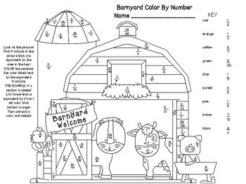 Equivalent Fractions Color By Number Barn Equivalent Fractions
