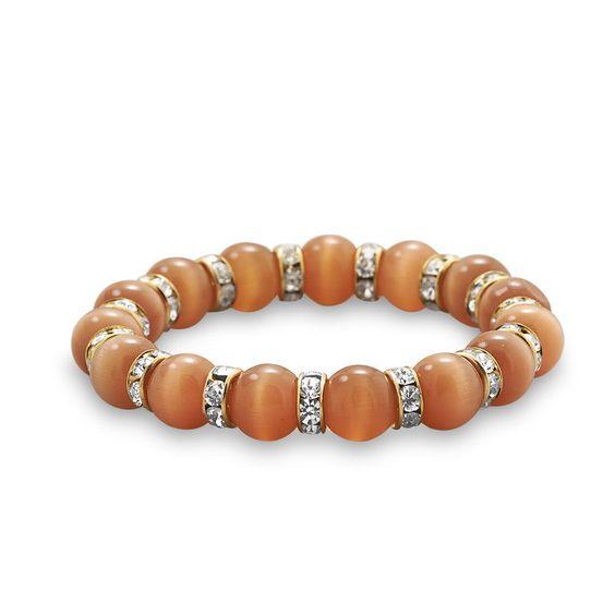 Orange Fiber Optic Glass Bead and Crystal Fashion Stretch Bracelet