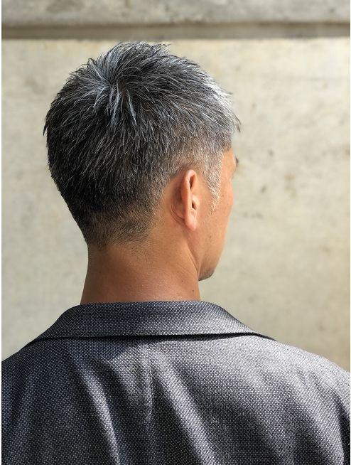 40代 白髪メンズショート 刈り上げ ロマンスグレー L039326154 美容