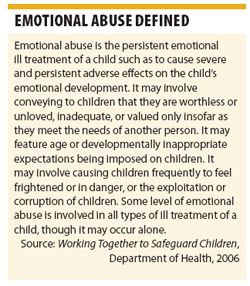 Emotional abuse of a child...you are worthless; you'll never be my equal-I own you;  that's wrong, you'll never learn that...what's your problem? My problem was You Mother(NPD!