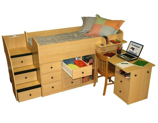 Best Berg Furniture Sierra Captain S Low Loft Bed With Pull Out 400 x 300