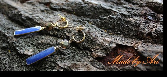 Goldfilled Sapphire & Pyrite Stones Earrings by Amorco on Etsy, $86.00