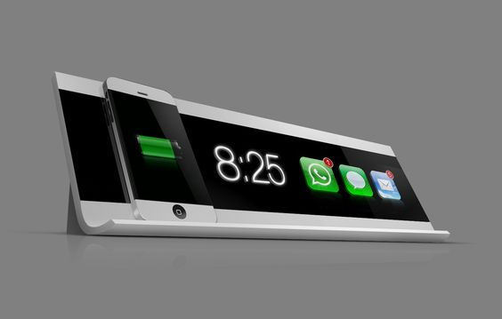 iPhone charging dock: Displays both time and received e-mails, messages or calls!: Coolest Iphone, Idea, Iphone Ipad, Iphone Charging, Black Displays, Iphone Dock, Charging Station, Tech Gadgets