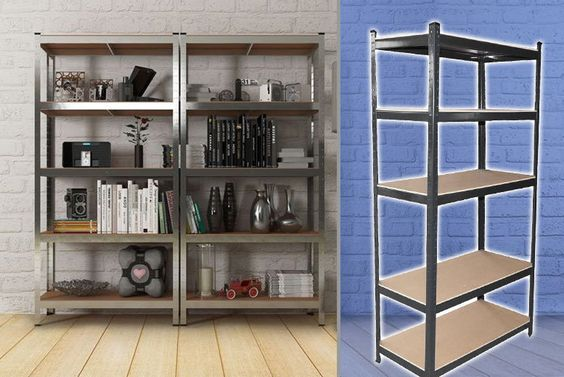 5-Tier Black Heavy-Duty Racking