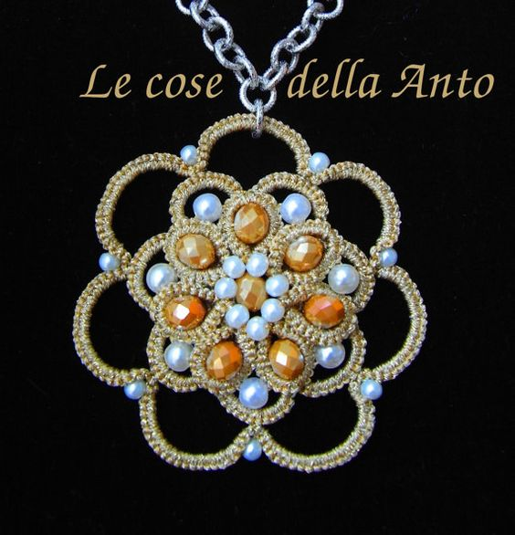 Embellished necklace pendant worked at by LeCoseDellaAnto on Etsy