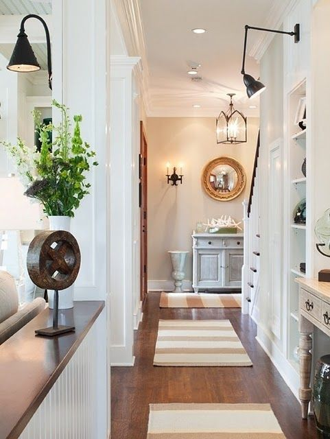 love the hallway, rugs, and lights