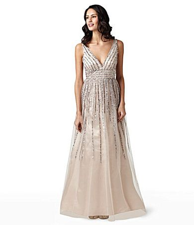 Nice soft pink dress. adrianna papell for E available at dillards. I will be trying this on.