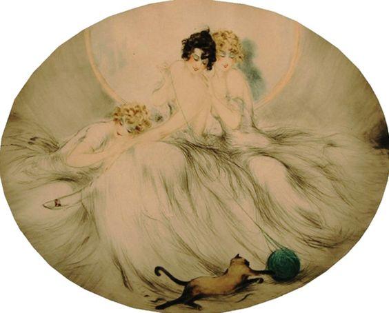 Icart, Louis (b,1888)- Cat w Yarn