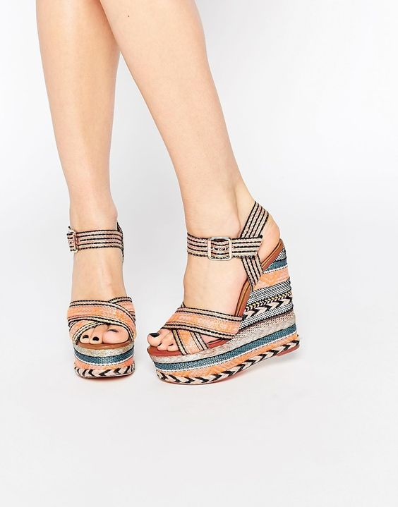 Image 1 ofRiver Island Printed Wedge Sandal