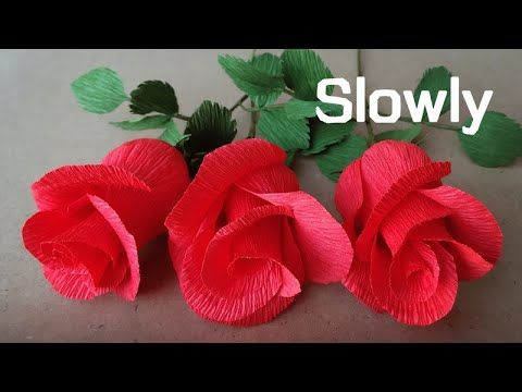 Abc Tv How To Make Rose Paper Flower From Crepe Paper Slowly Easy Craft Tutorial Youtube In 2020 Paper Flower Patterns Paper Flower Kit Paper Flower Art