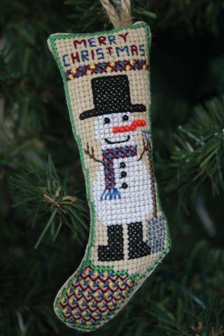 Snowman with Snow Shovel  Christmas Ornament .  azcrossstitch.com