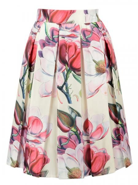 White Floral Print Pleated Midi Skirt | Persunmall