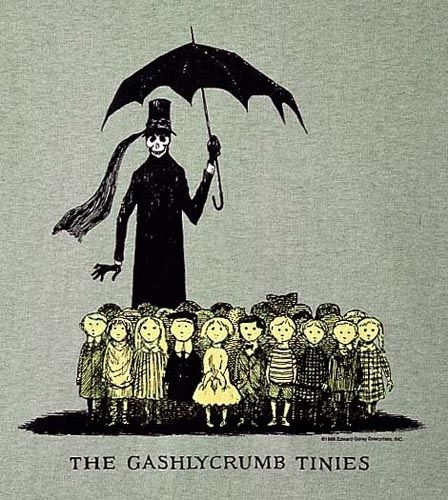 Edward Gorey's Gashlycrumb Tinies T-shirt - $21 - http://www.goreydetails.net/shop/index.php?zenid=anjiu31a7lltli3g8ikarvcfd1_page=advanced_search_result=gashlycrumb_id=_subcat=1_id======47=8