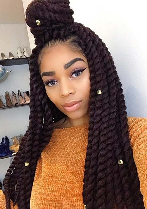 43 Eye Catching Twist Braids Hairstyles For Black Hair Stayglam Twist Braid Hairstyles Havana Twist Braids Braids For Black Hair