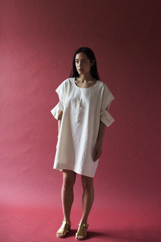 Nancy Stella Soto Tee Dress in Ivory | Oroboro Store