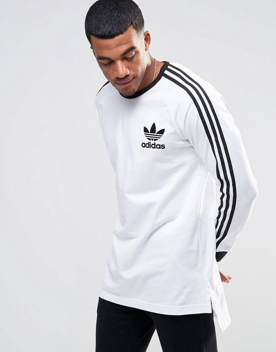Image 1 of adidas Originals adicolor Longline Long Sleeve T-Shirt In White B10656