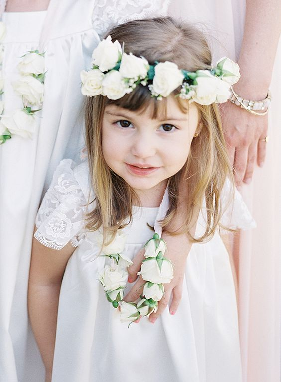 Adorable Flower Girl with a Floral Crown and Rosebud Necklace | Heather Payne Fine Art Photography | http://heyweddinglady.com/enchanted-garden-wedding-colorful-summer-florals/