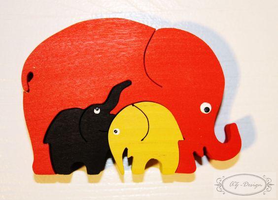 Puzzle en bois, éléphant, famille, safari, jouet enfant : Jeux, jouets par az-design