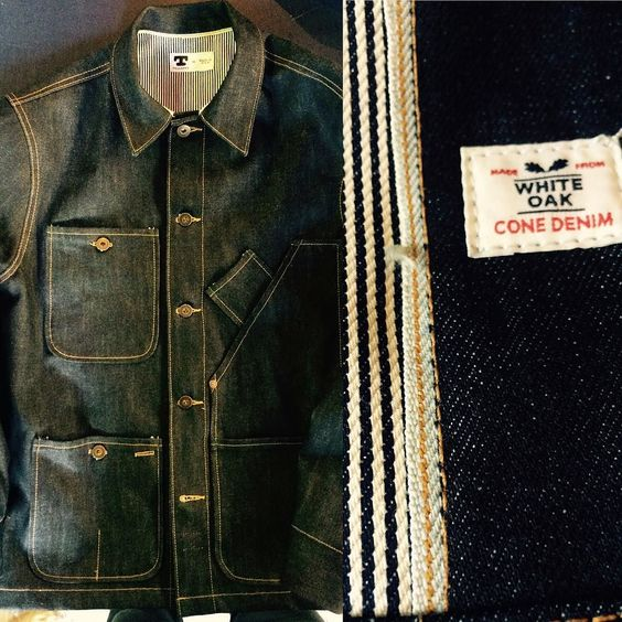 Coverall jacket with hickory stripe lining & quilted sleeves
