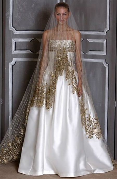 Wedding Gowns For Golden Wedding : Wedding bridal veils and gold dresses on