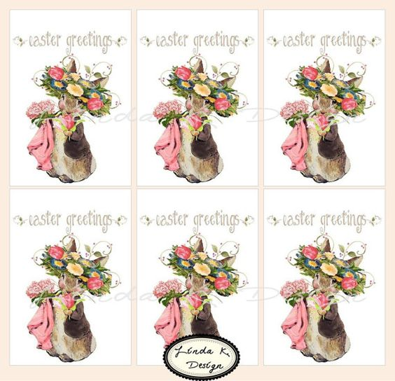 Easter Greetings with Beatrix Potter Printable by lindakdesign, $4.99