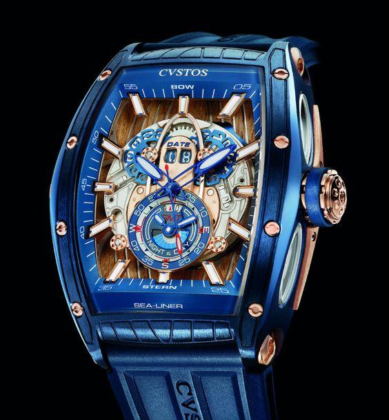 Montre Cvstos Sea-Liner GMT Automatic avec bracelet bleu