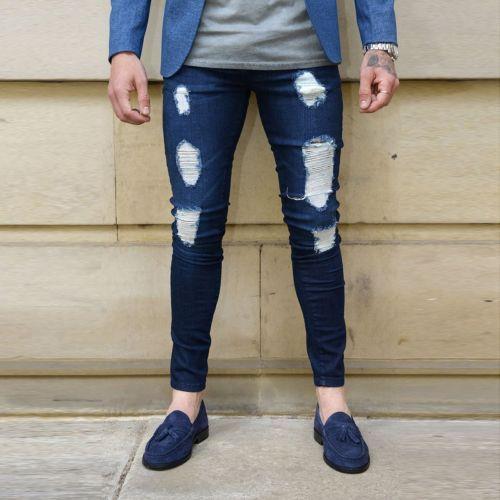 Moda Para Hombre Skinny Jeans Biker Destruido Deshilachado Slim Fit Pantalones De Mezclilla Rasgada Nuev Mens Fashion Denim Ripped Jeans Men Mens Pants Fashion