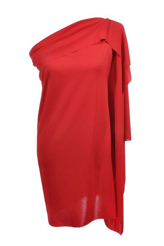 #IsseyMiyake | Stylishes #One-Shoulder- #Dress mit seitlichen #Volant, #red Gr. S | Issey Miyake Keid | mymint-shop.com | Ihr Online #Shop für #Secondhand / #Vintage #Designerkleidung & Accessoires bis zu -90% vom Neupreis das ganze Jahr #mymint