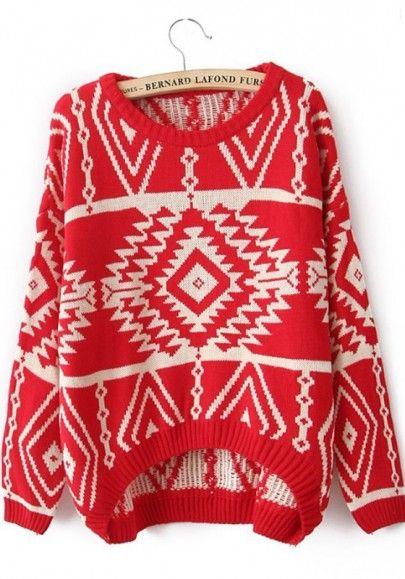 Red Geometric Irregular Round Neck Loose Polyester Sweater